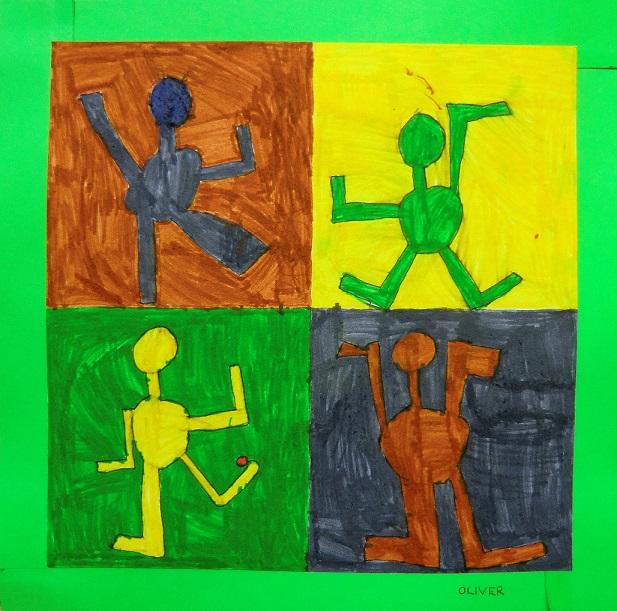 cvičící děti