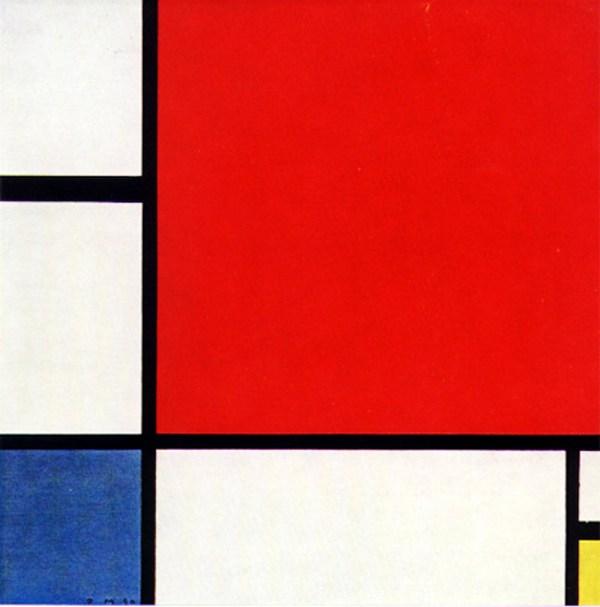 kompozice s červenou, žlutou a modrou