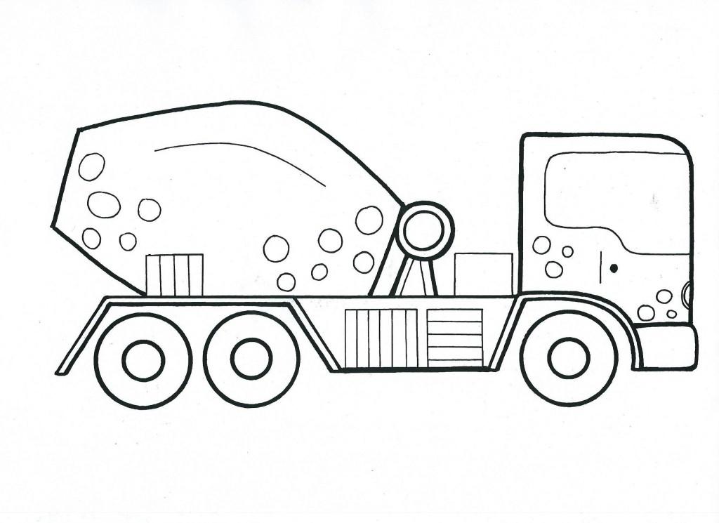 velké auto míchačka- omalovánka